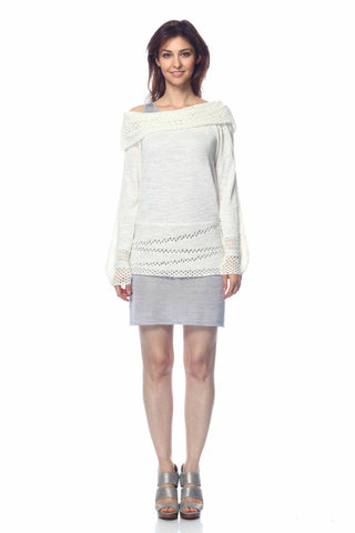 Arianna Reversible Draped Cardigan with Lace Detail
