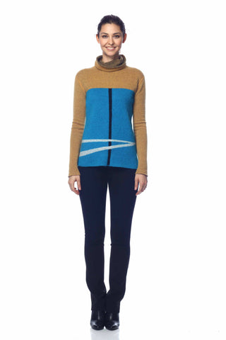 Izolda Reversible Turtle Neck Pullover - Camel/Blue
