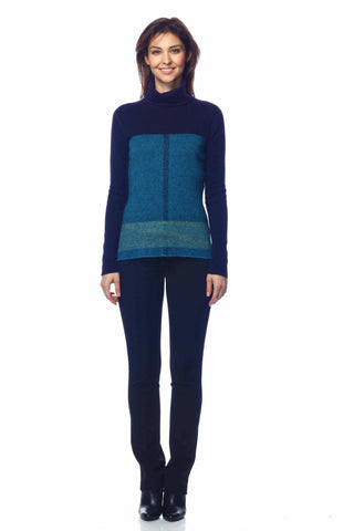 Izolda Reversible Turtle Neck Pullover - Navy/Blue