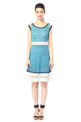 Evelyn Colorblock Knit-Dress - Navy