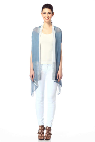 Myrna V-Neck Reversible Cardigan - Navy/Grey