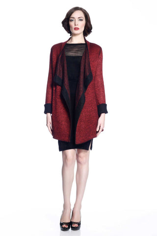 Eleanor Reversible Draped Cardigan - Red/Black