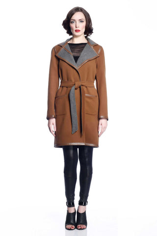 Margaret Reversible Wool/Cashmere Coat- Green/Grey