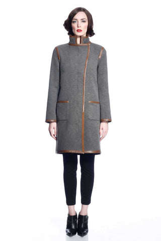 Margaret Reversible Wool/Cashmere Coat - Brown/Grey