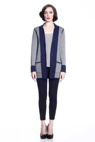 Vivian Reversible Wool Cardigan/jacket - Navy/Grey