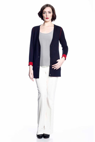 Myrna V-neck Reversible Cardigan - Red/Black