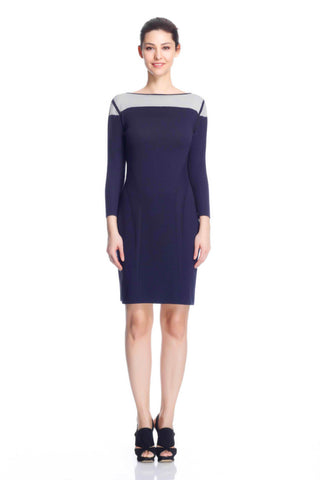 Genevieve Elegant Reversible Dress- Navy/Grey