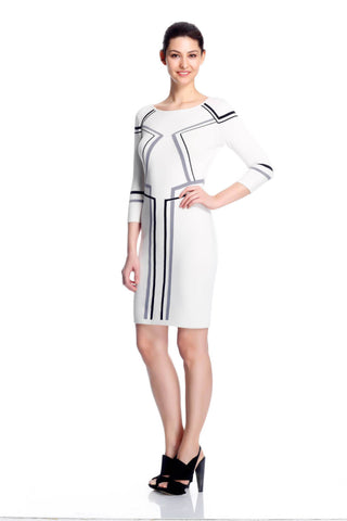 Kaleen Elegant White Knit-Dress with Line Detail