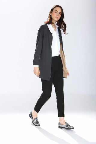 Alex Reversible Silk/cashmere pullover/cardigan- Charcoal/Camel