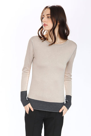 Taylor Reversible Silk/Cashmere Pullover – Grey/Beige/Charcoal