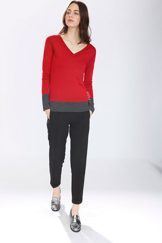 Blanche Reversible V Neck Pullover - Red/Black
