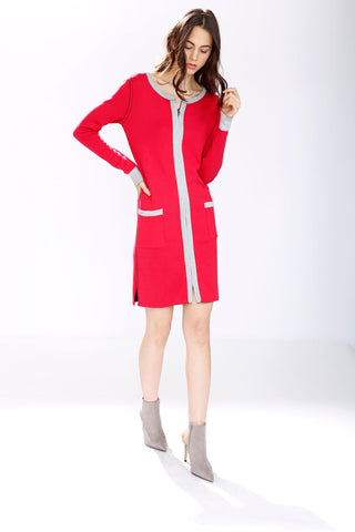 Loretta Long Sleeve Reversible Dress/Pullover - Red/Black