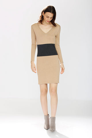 Erin Soft Silk/Cashmere Reversible 4-Way Dress - Camel/Grey