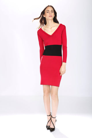 Genevieve Elegant Reversible Dress - Red/Black