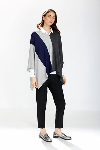 Max 8-Way Scarf/Cape – Navy/Grey/Charcoal
