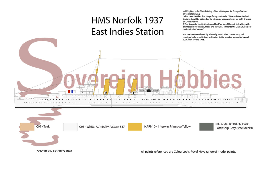 HMS Norfolk East Indies Station 1937