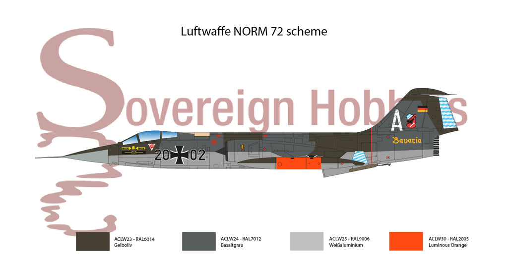 Luftwaffe NORM72 - RAL6014 RAL7012 RAL9006 RAL2005