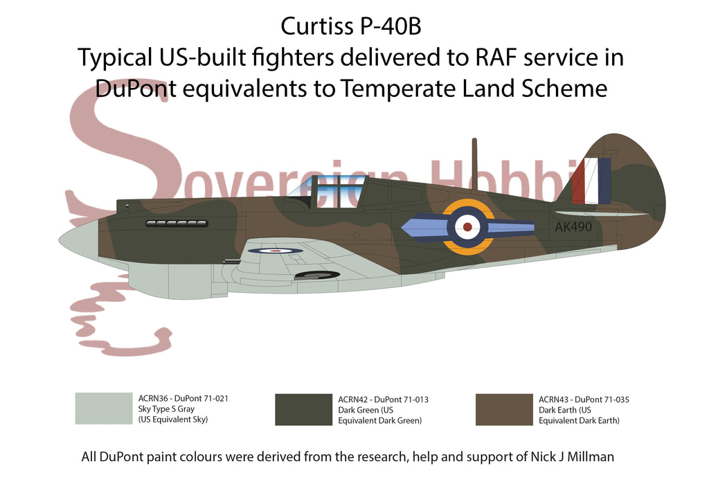 US built aircraft in RAF WWII service delivered in DuPont equivalent to Temperate Land Scheme