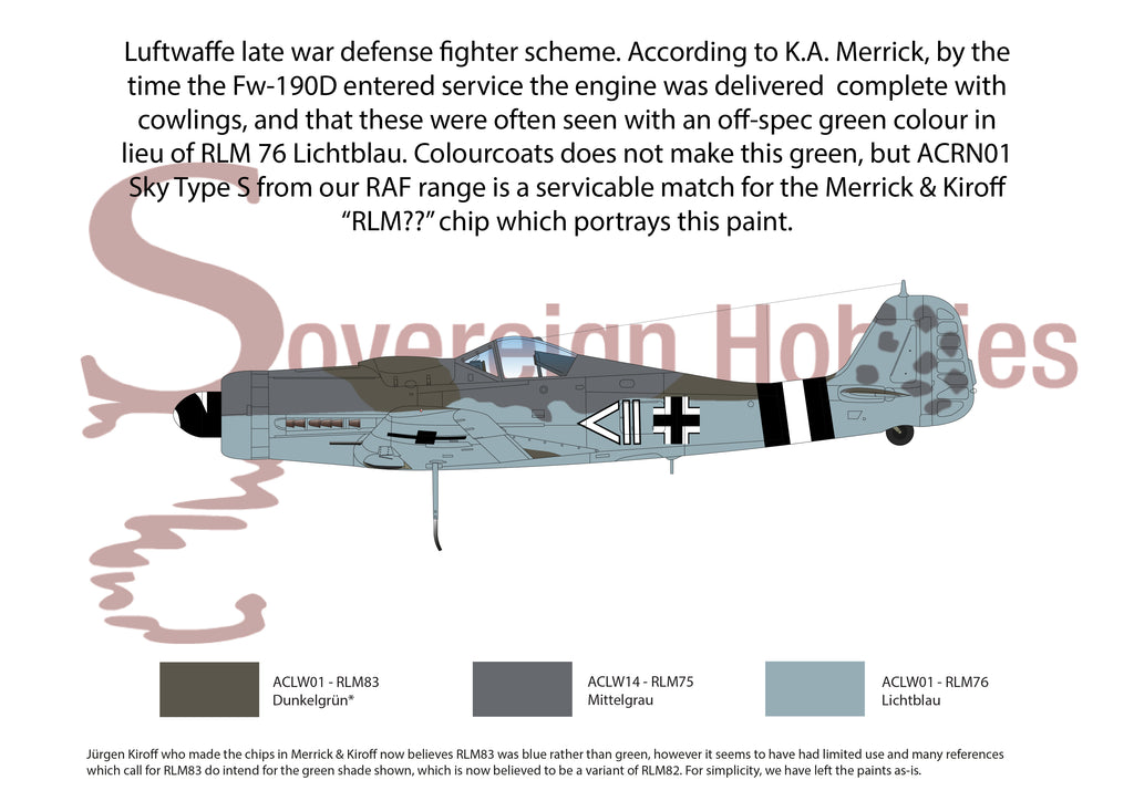 Luftwaffe late war home defense - RLM75, RLM76 and what was thought to be RLM83 (now believed to be variant of RLM82)