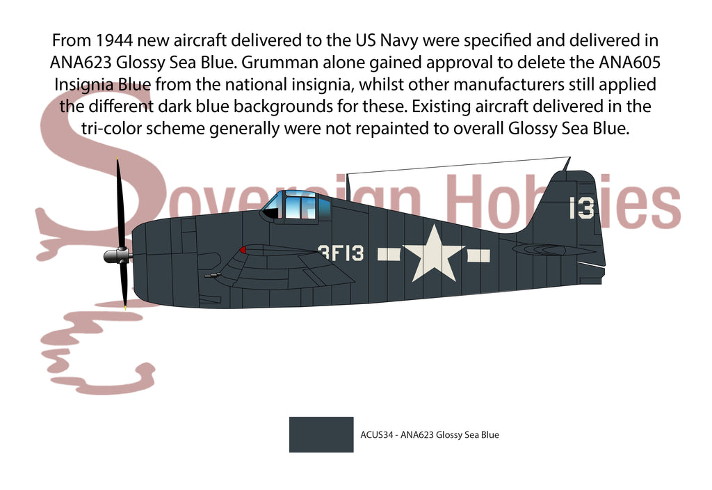 US Navy 1944-onward overall Glossy Sea Blue scheme
