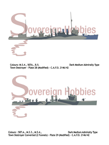 Royal Navy Camouflage - C.A.F.O. 2146/42 - DARK MEDIUM TONE CAMOUFLAGE DESIGNS FOR SEAGOING SHIPS - Sovereign Hobbies
