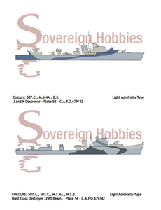 Royal Navy Camouflage - C.A.F.O. 679/42 - SEA-GOING CAMOUFLAGE DESIGNS FOR DESTROYERS AND SMALL SHIPS - Sovereign Hobbies