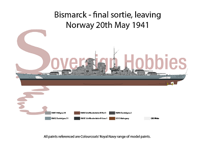 A3 Printed Colour Profile - Bismarck - Final Sortie