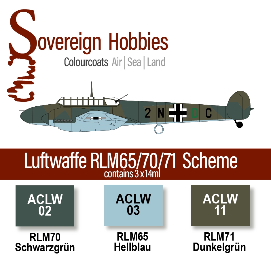Colourcoats Set Luftwaffe RLM65/70/71 Day Bomber and Early Day Fighter Scheme - Sovereign Hobbies