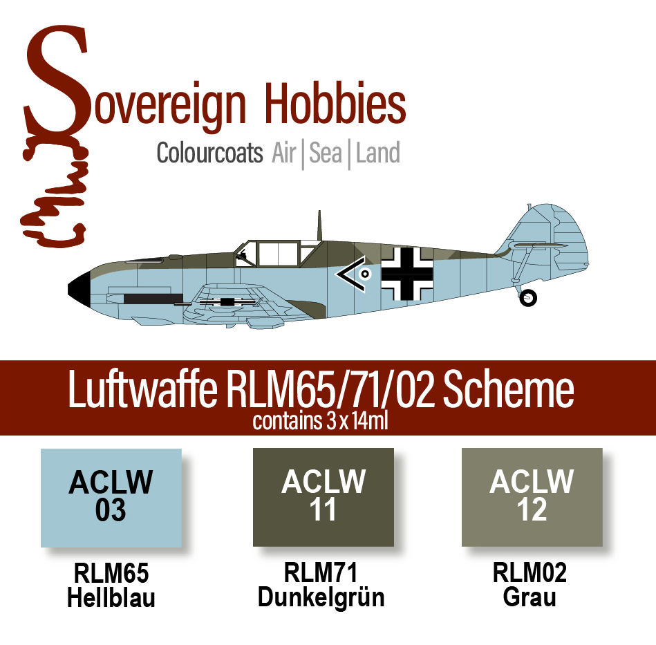 Colourcoats Set Luftwaffe RLM65/71/02 Day Fighter Scheme - Sovereign Hobbies