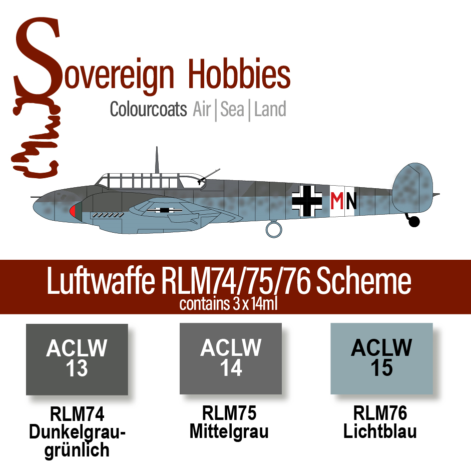 Colourcoats Set Luftwaffe RLM74/75/76 Mid-war Scheme - Sovereign Hobbies