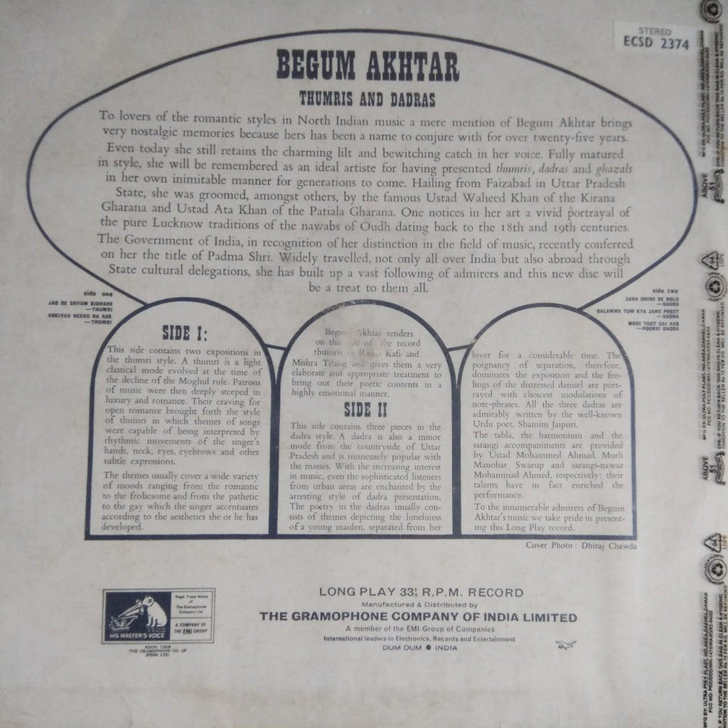 Dadras & Thumrees By Begum Akhtar  (Used LP) VG