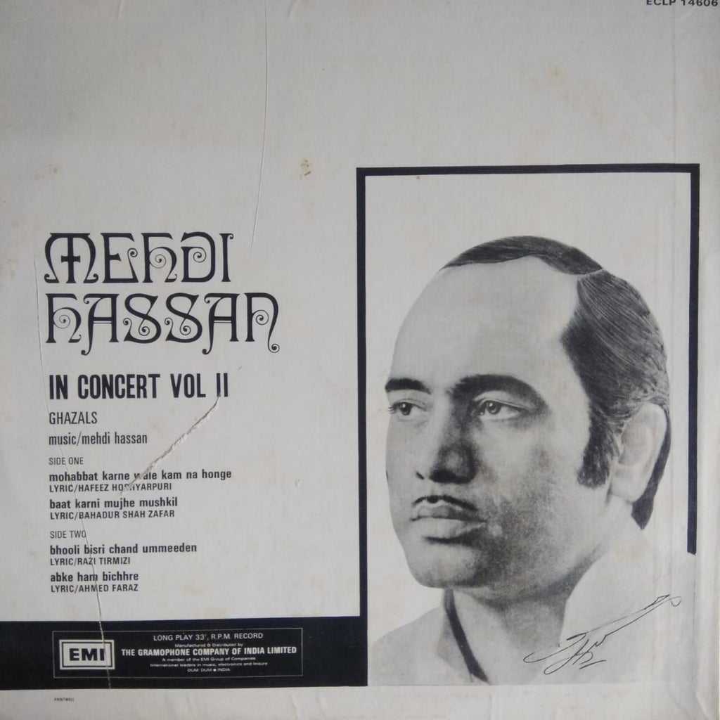 In Concert Vol. II By Mehdi Hassan (Used Vinyl) VG