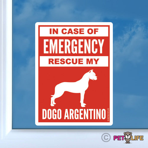 In Case Of Emergency Rescue My Dogo Argentino Sticker