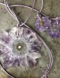 Amethyst polished slice leather necklace