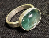 Blue green tourmaline cabochon ring, sterling silver