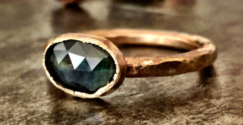 Blue green sapphire slice, rose cut, in a gold-filled ring, misfit toys