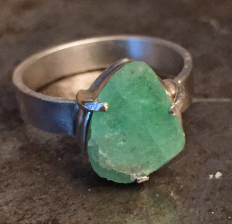 Green tourmaline, tumbled, in a sterling silver ring