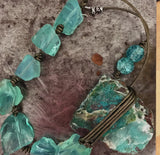Chrysocolla druzy pendant on a necklace of chunky aqua quartz, asymmetrical, on olive gold leather, sterling silver clasp.
