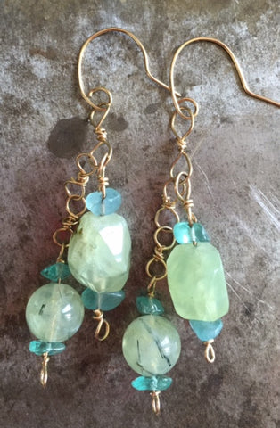 Prehnite and apatite on gold filled earrings