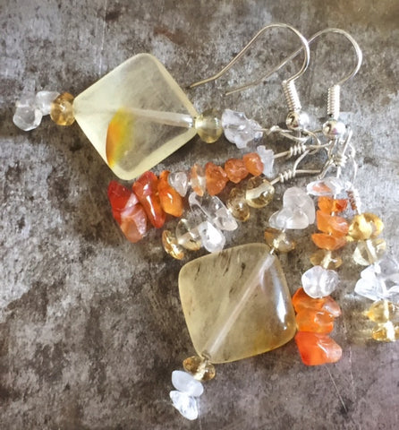 Tourmaline, citrine and carnelian earrings, sterling silver