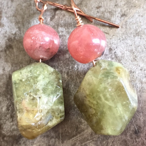 Rhodochrosite and grossular green garnet earrings, rose-gold filled wire.