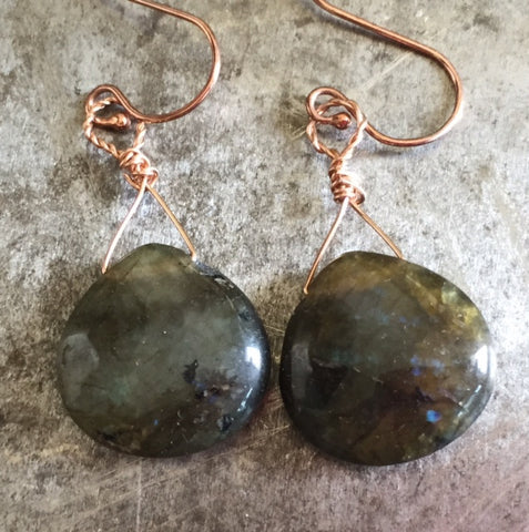 Labradorite earrings on rose gold filled wire