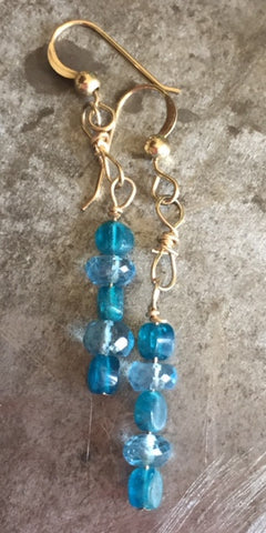 Blue apatite and blue topaz in gold filled earrings