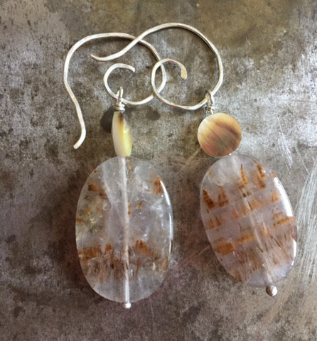 Cacoxenite, mother of pearl earrings, sterling silver.