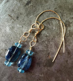 Blue kyanite, blue topaz earrings, gold filled wire
