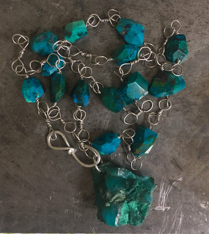 Chrysocolla gem silica malachite pendant, sterling silver and chrysocolla necklace