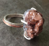 Brazilian agate with quartz crystals, sterling silver statement ring