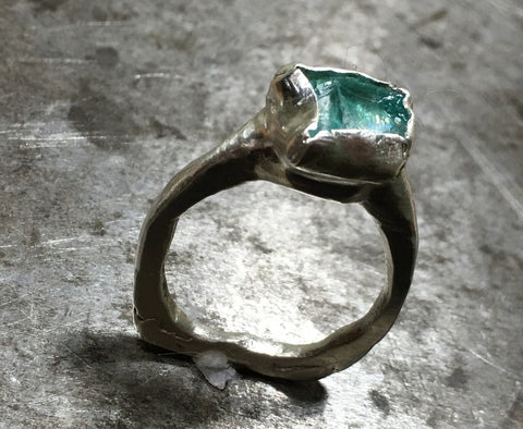 Apatite, raw crystal, sterling silver ring