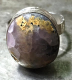 Pink-violet-yellow smithsonite cabochon ring, sterling silver