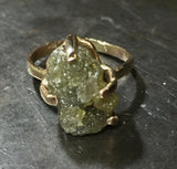 Rough green diamond ring,  7.96 cts, 14K gold
